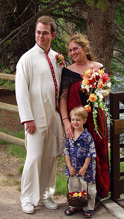 Elizabeth and I, married at last, with nephew Sam Bassot-Lee