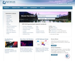 The Novus Biologicals website homepage