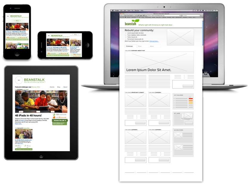 Beanstalk wireframes on iPhone, iPad, MacBook