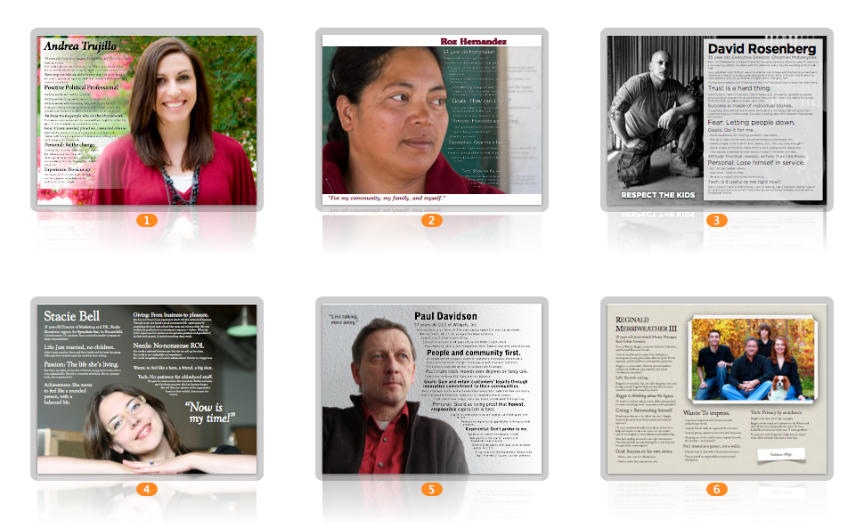 Personas developed for the Beanstalk Foundation.